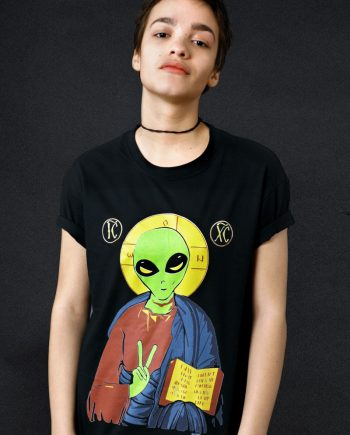 alien jesus t-shirt political atheism funny