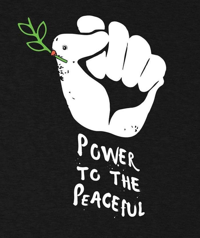 Power to the peaceful t-shirt ant iwar print