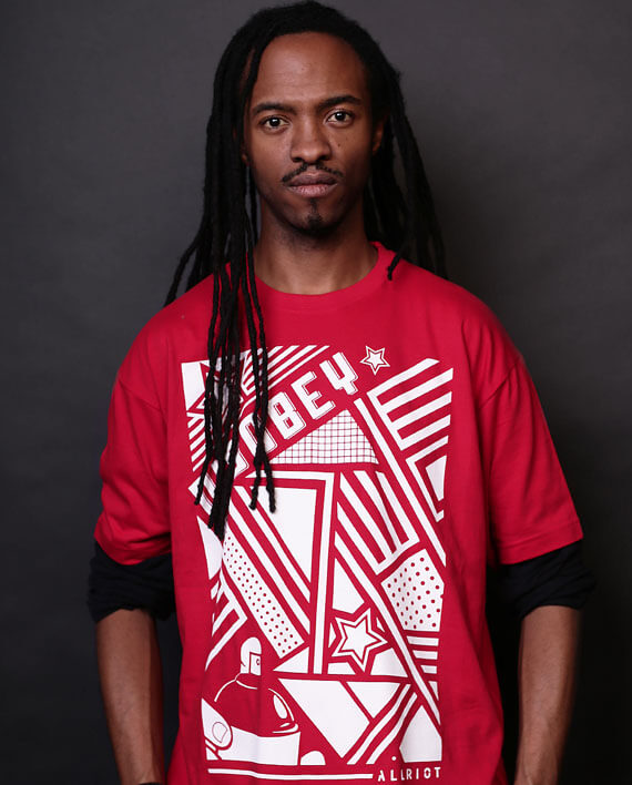 disobey t-shirt red graphic