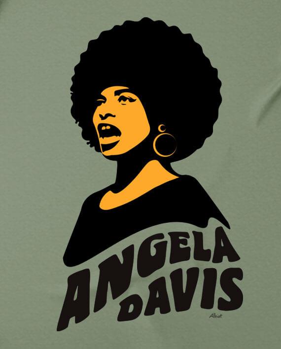 free angela davis t-shirt afro khaki