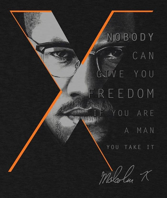 Malcolm X shirt nobody can give you freedom