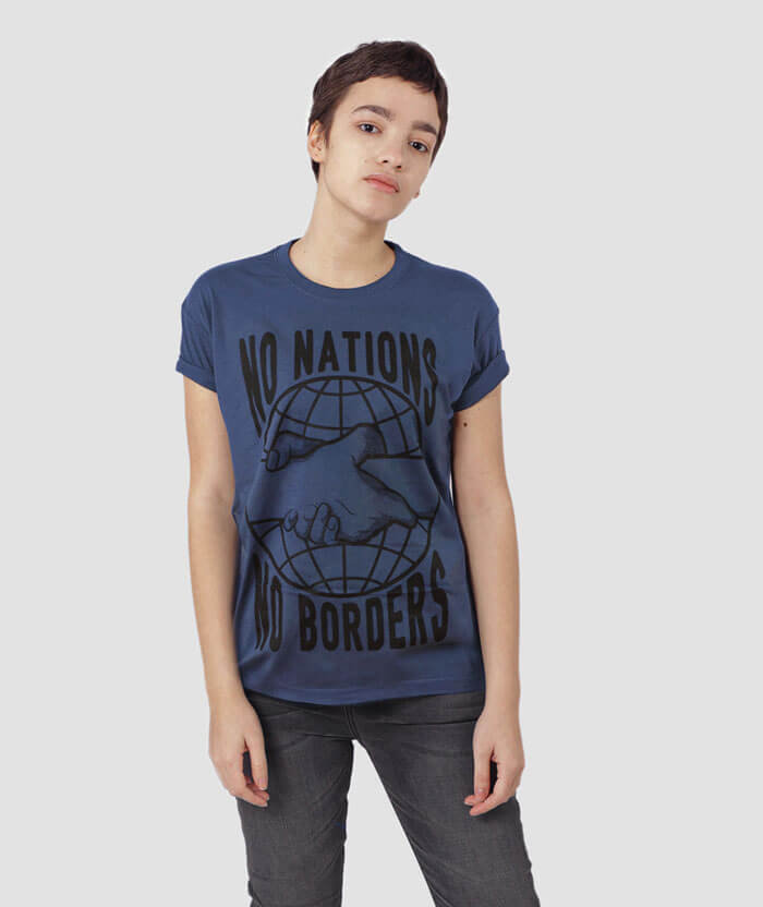 no nations no borders refugees are welcome t-shirt