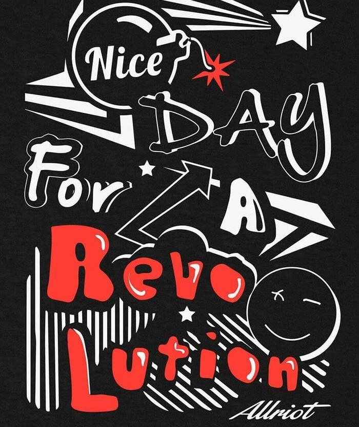 Nice Day for a Revolution T-shirt uk black print