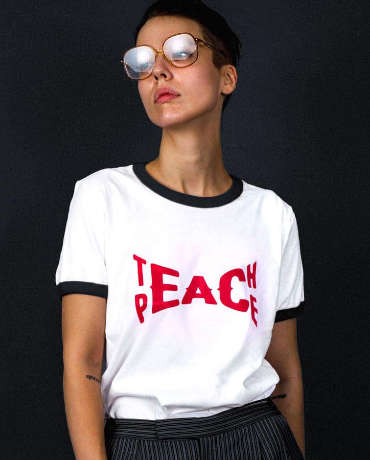 teach peace t-shirt slogan ringer tee vintage style