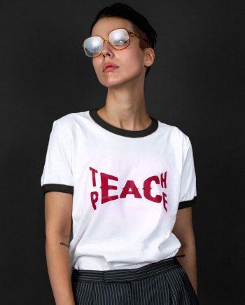 teach peace slogan vintage t-shirt