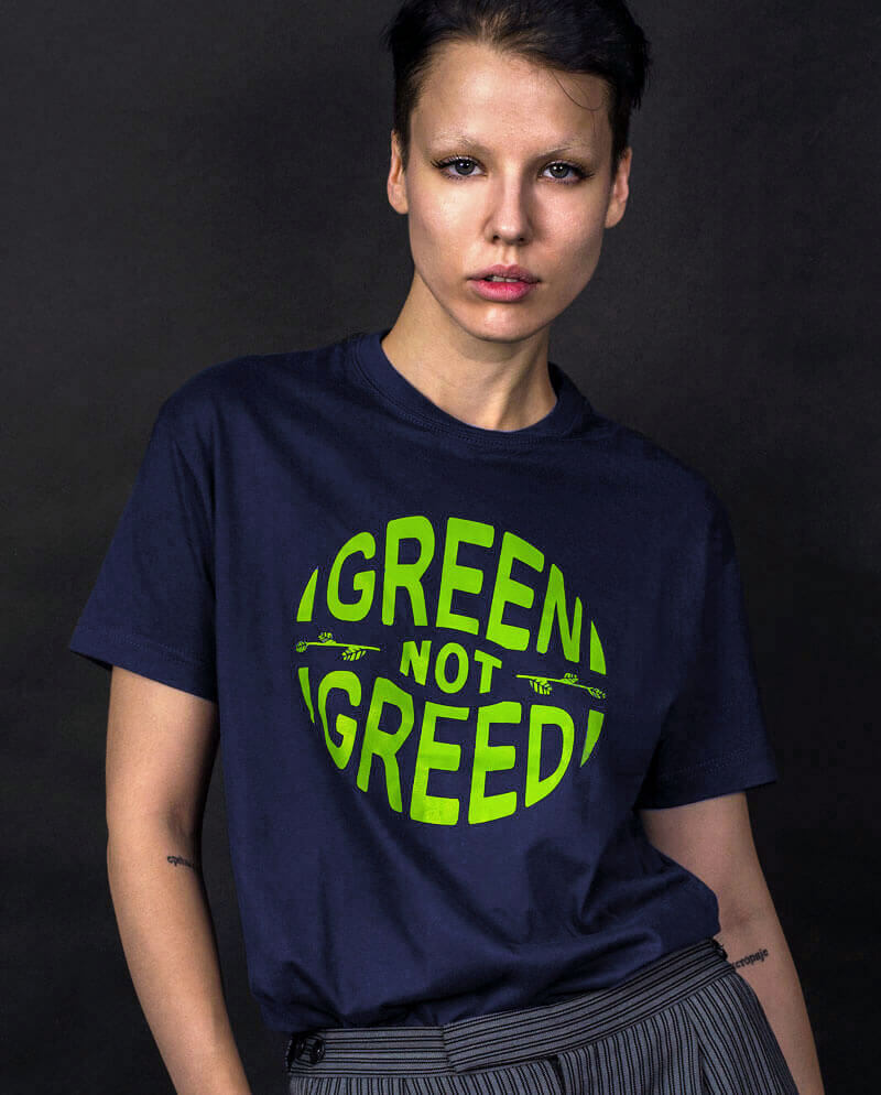 green not greed t-shirt ethical clothing