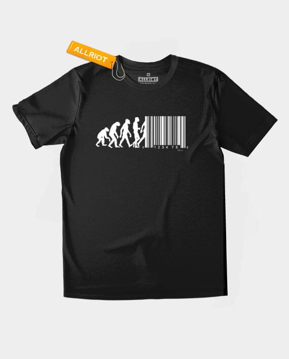 march of progress barcode t-shirt