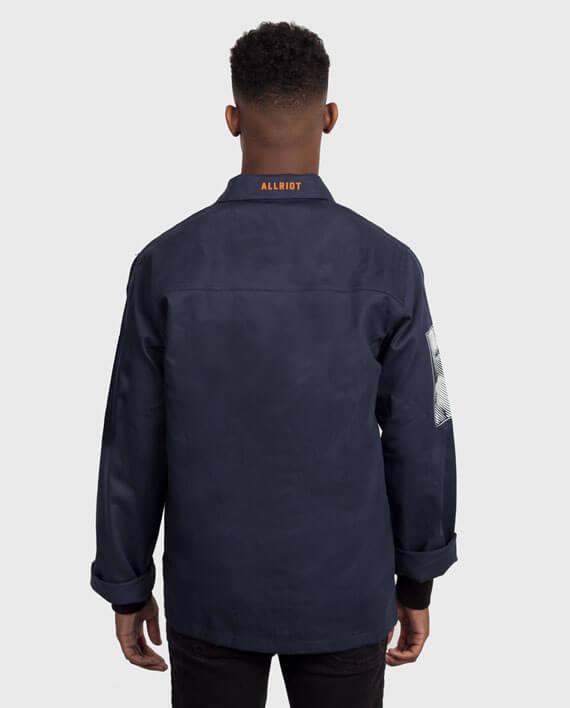 workwear jacket navy back political streetwear