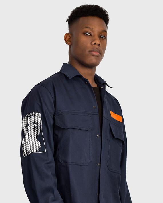 workwear jacket navy political streetwear