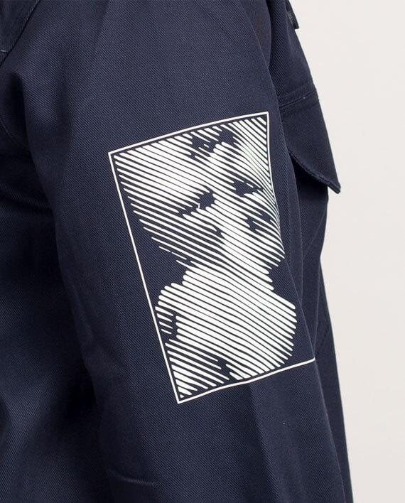 workwear jacket navy print political streetwear