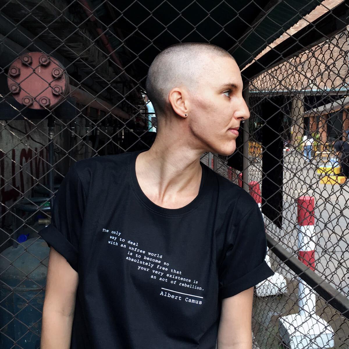 albert camus t-shirt rebellion quote
