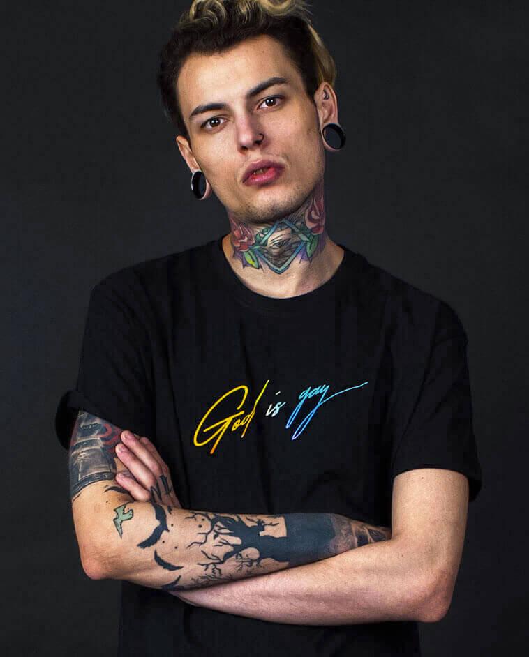 god is gay t-shirt lgbt kurt cobain