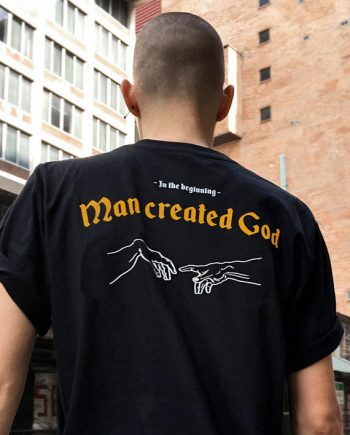 in-the beginning man created god t-shirt 1