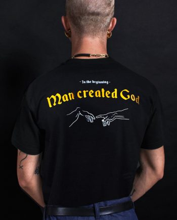 in the beginning man created god t-shirt atheism
