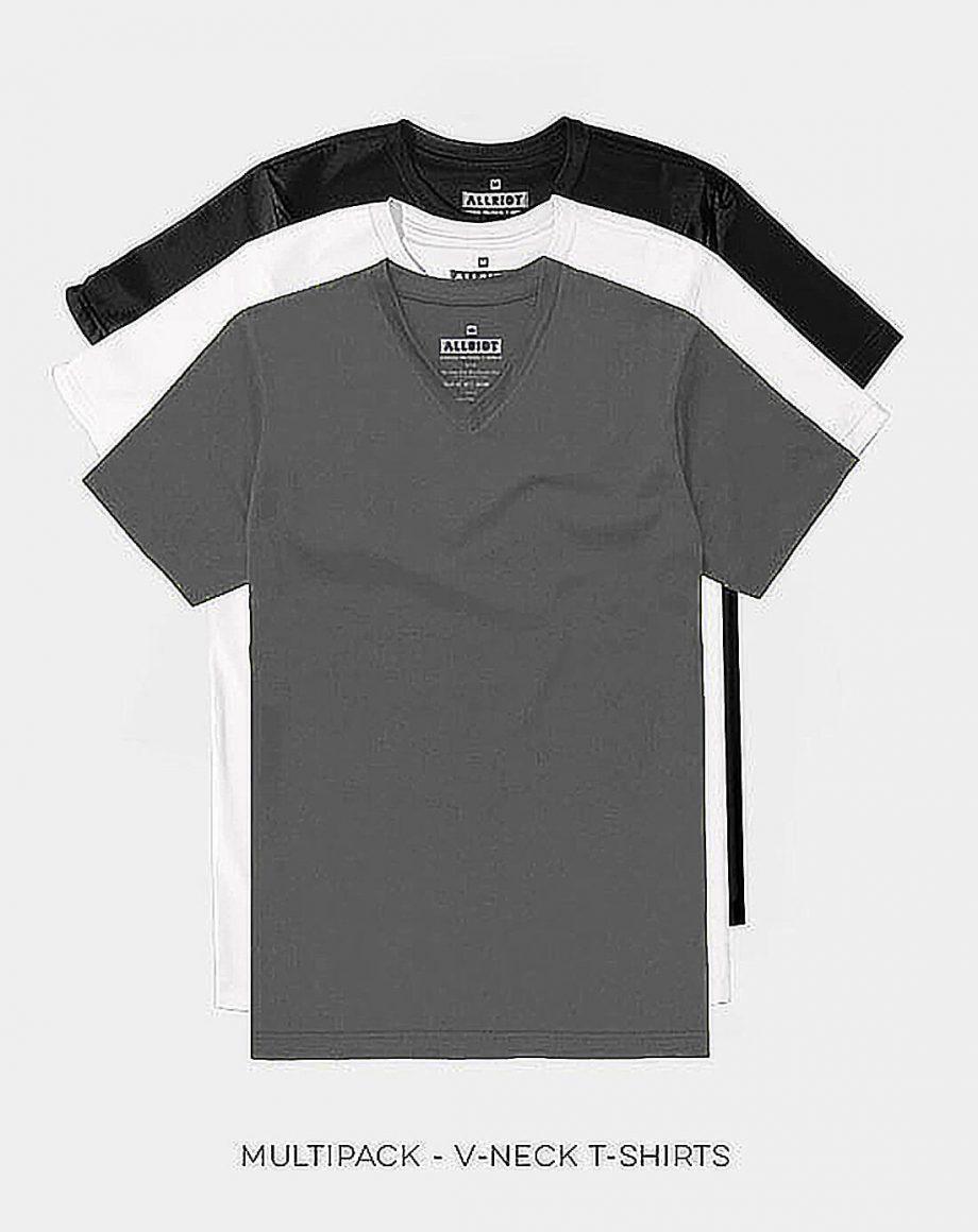 multipack v-neck t-shirts charcoal