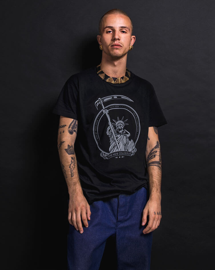 political streetwear new colossus tee scull