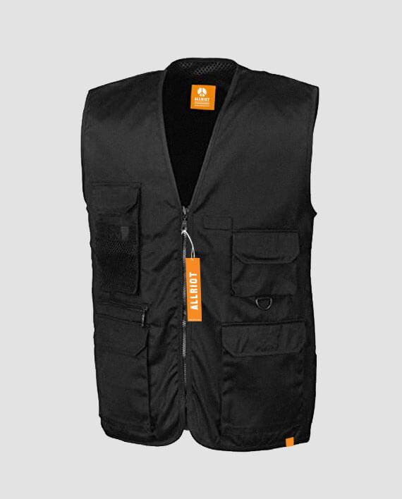 streetwear workwear vest waistcoat black