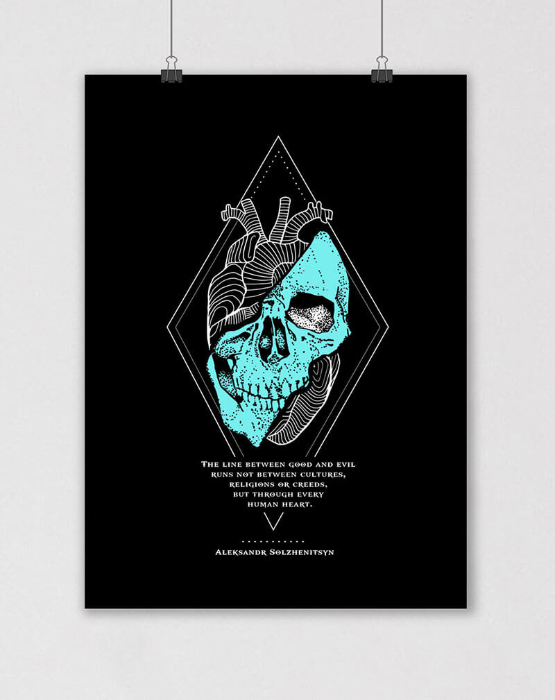 ALEKSANDR SOLZHENITSYN gulag archipelago quote poster