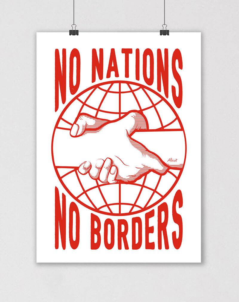 no nations no borders political poster