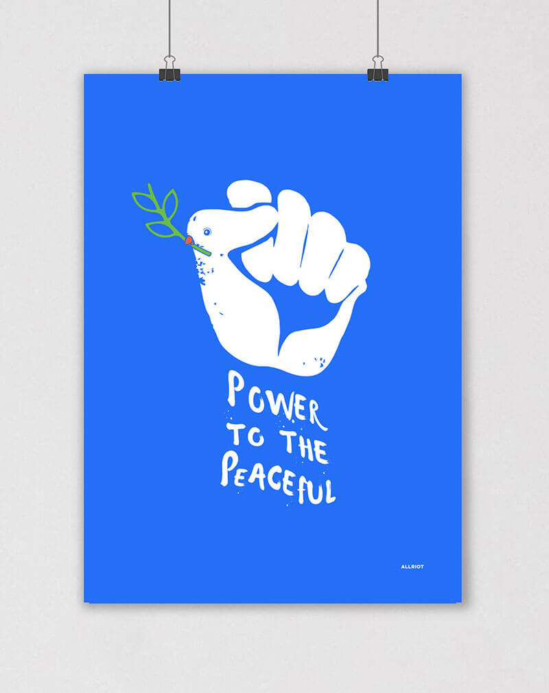 power to the peaceful political poster