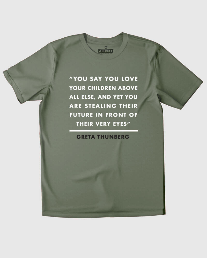 greta thunberg t-shirt khaki