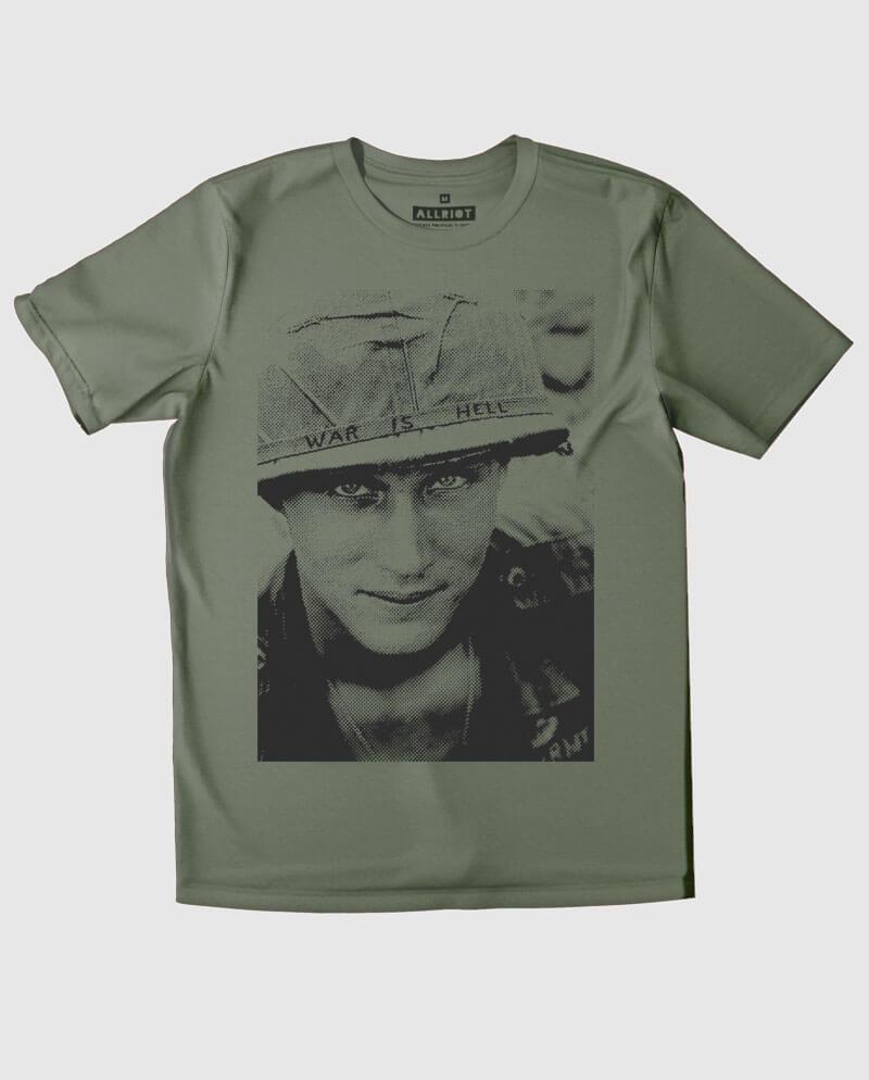 war is hell t-shirt anti war khaki
