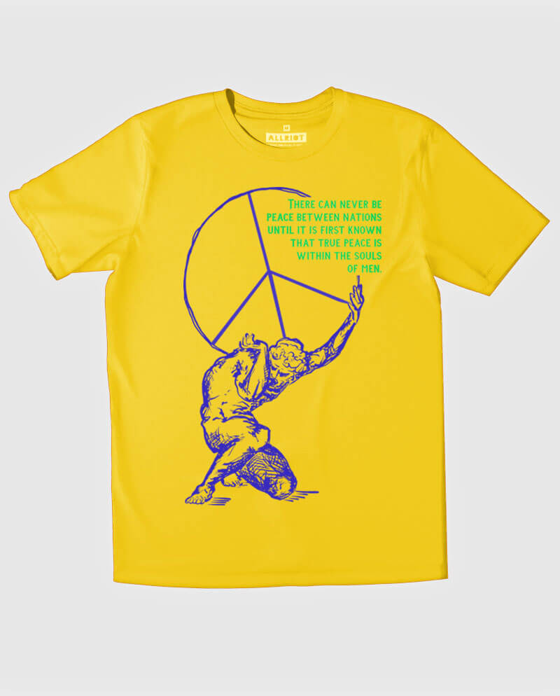 peace symbol t-shirt with atlas holding earth illustration
