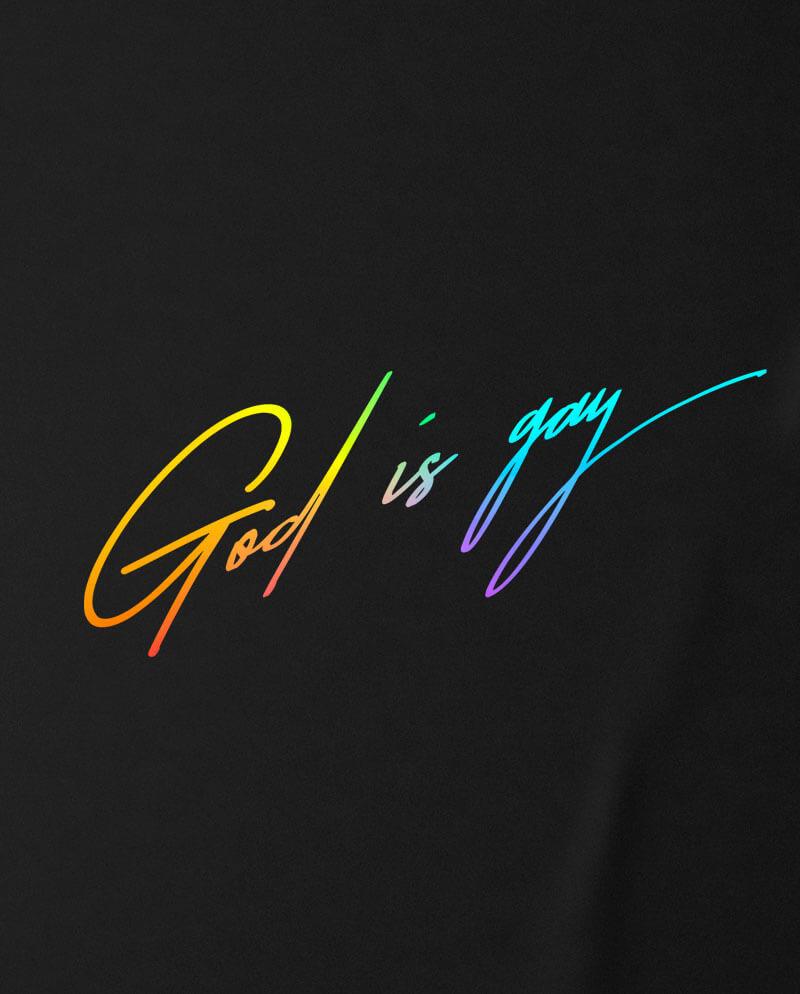 god is gay rainbow typography print