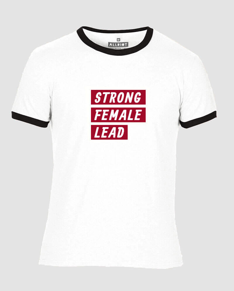 strong female lead t-shirt ringer contrast trim