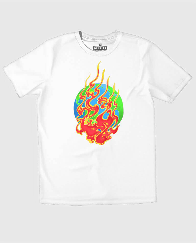 Earth on fire environmentalist white T-shirt