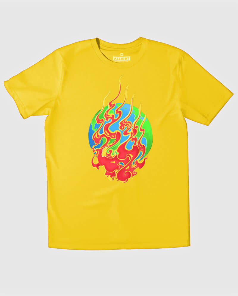 Earth on fire environmentalist yellow T-shirt