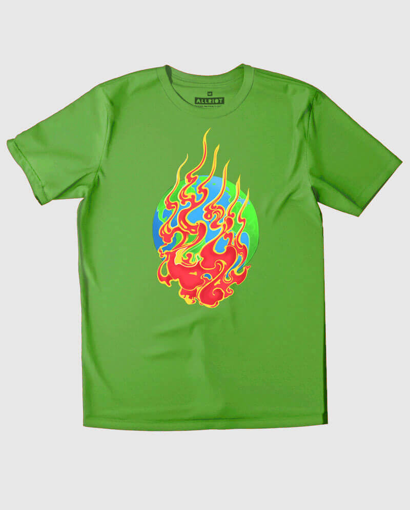 Earth on fire environmentalist green T-shirt