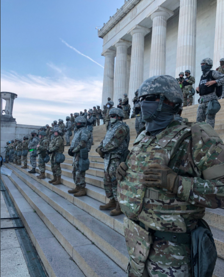 black lives matter state troups at lincoln memorial